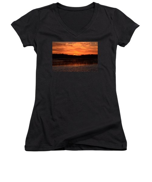 Sunset Over Tiny Marsh Women's V-Neck T-Shirt
