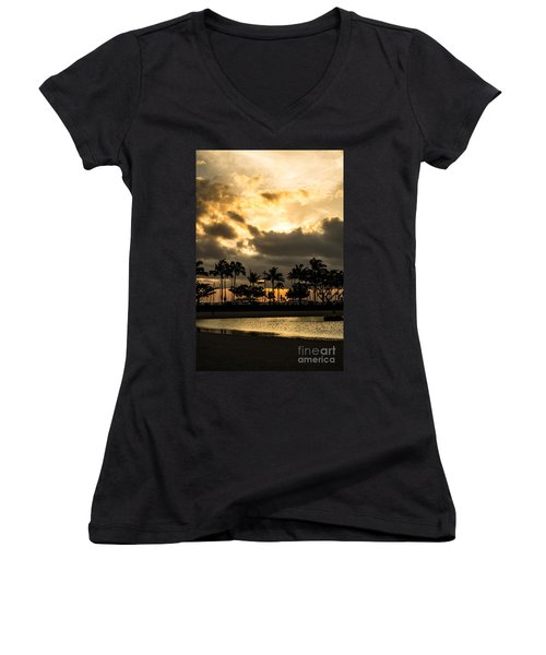 Sunset Over Waikiki Women's V-Neck T-Shirt (Junior Cut) by Angela DeFrias