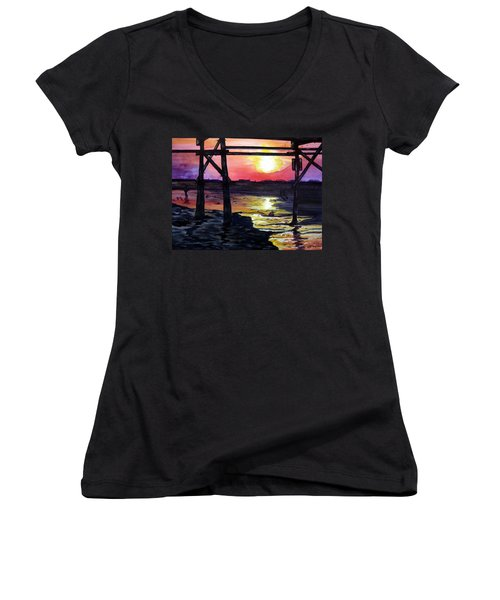 Women's V-Neck T-Shirt (Junior Cut) featuring the painting Sunset Pier by Lil Taylor