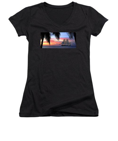 Sunset Sailboat Filtered Women's V-Neck (Athletic Fit)