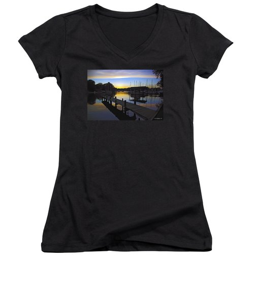 Women's V-Neck T-Shirt (Junior Cut) featuring the photograph Sunset Silhouette by Brian Wallace