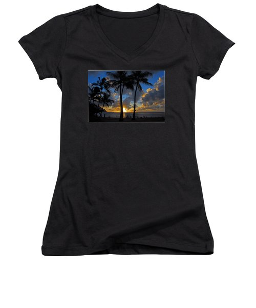 Women's V-Neck T-Shirt (Junior Cut) featuring the photograph Sunset Silhouettes by Lynn Bauer