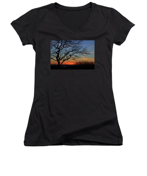 Sunset Tree In Ocean City Md Women's V-Neck (Athletic Fit)