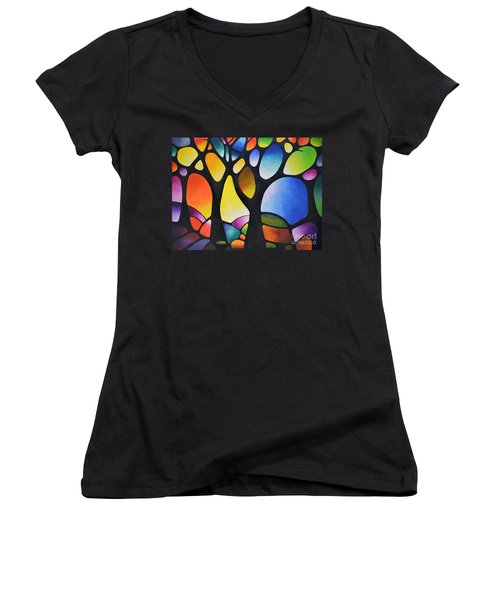 Sunset Trees Women's V-Neck T-Shirt (Junior Cut) by Sally Trace
