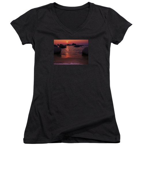 Women's V-Neck T-Shirt (Junior Cut) featuring the photograph Sunset With A Whale by Sean Sarsfield