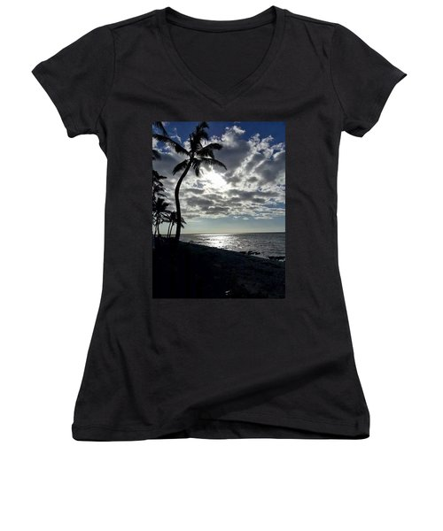 Sunset With Palm Trees Women's V-Neck T-Shirt (Junior Cut) by Pamela Walton