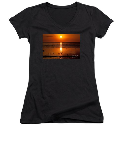 Women's V-Neck T-Shirt (Junior Cut) featuring the photograph Sunset With The Birds Photo by Meg Rousher