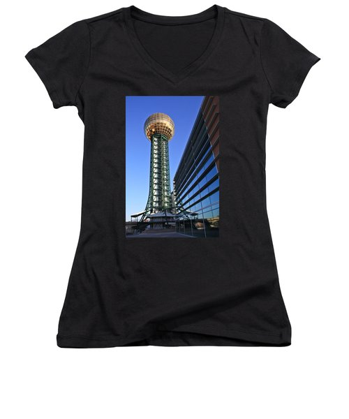Sunsphere And Conference Center Women's V-Neck T-Shirt (Junior Cut) by Melinda Fawver