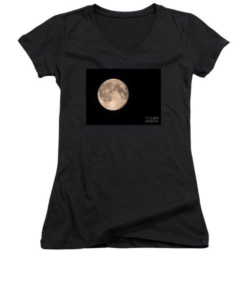 Super Moon Women's V-Neck T-Shirt (Junior Cut) by David Millenheft