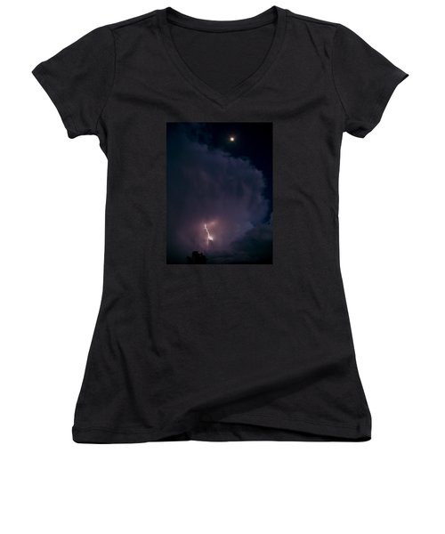 Women's V-Neck T-Shirt (Junior Cut) featuring the photograph Supercell Moon by Ed Sweeney