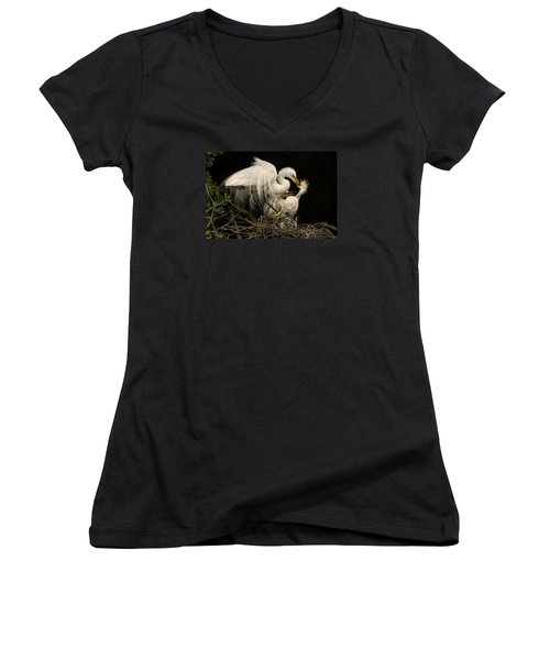 Women's V-Neck T-Shirt (Junior Cut) featuring the photograph Suppertime by Priscilla Burgers