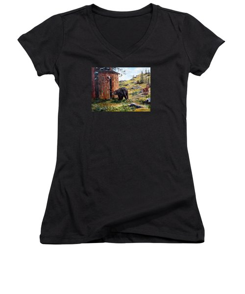 Women's V-Neck T-Shirt (Junior Cut) featuring the painting Surprise Visit by Lee Piper