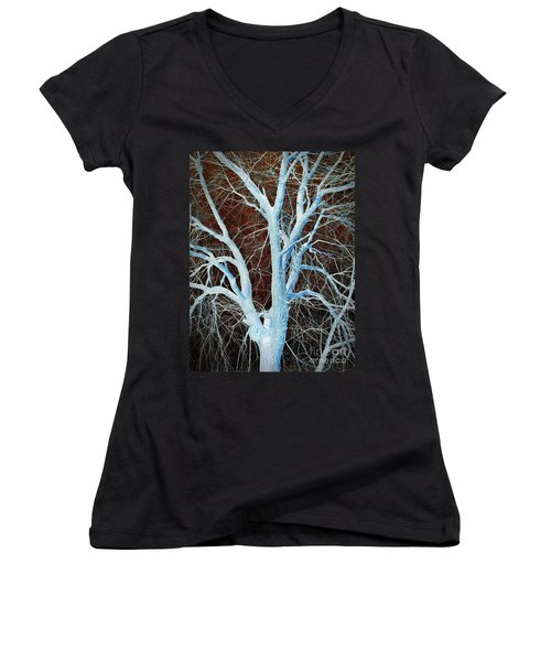 Surreal Blue Tree Women's V-Neck (Athletic Fit)