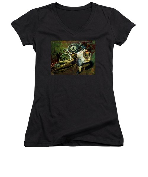 Women's V-Neck T-Shirt (Junior Cut) featuring the painting Surreal Nightmare by Ally  White