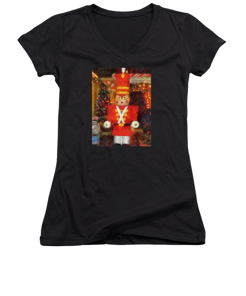 Surrender Walt Disney World Women's V-Neck T-Shirt (Junior Cut) by Thomas Woolworth