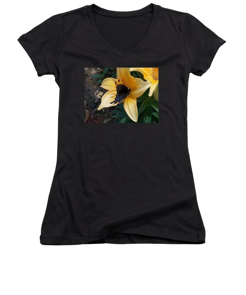 Women's V-Neck T-Shirt (Junior Cut) featuring the photograph Swallowtail On Asiatic Lily by Kathryn Meyer