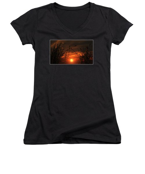 Swamp Sunset  Women's V-Neck T-Shirt (Junior Cut) by Tim Fillingim