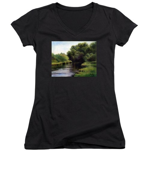 Swan Creek Women's V-Neck T-Shirt (Junior Cut) by Janet King