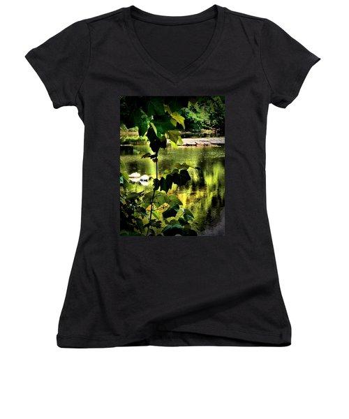 Swan Dive Women's V-Neck T-Shirt (Junior Cut) by Robert McCubbin