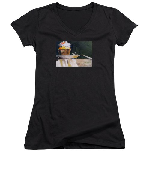 Sweet Cupcake Women's V-Neck T-Shirt (Junior Cut) by Mary Hubley