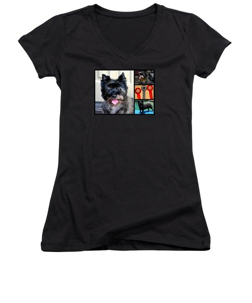 Sweetpea And Her Ribbons Women's V-Neck T-Shirt (Junior Cut) by Jay Milo