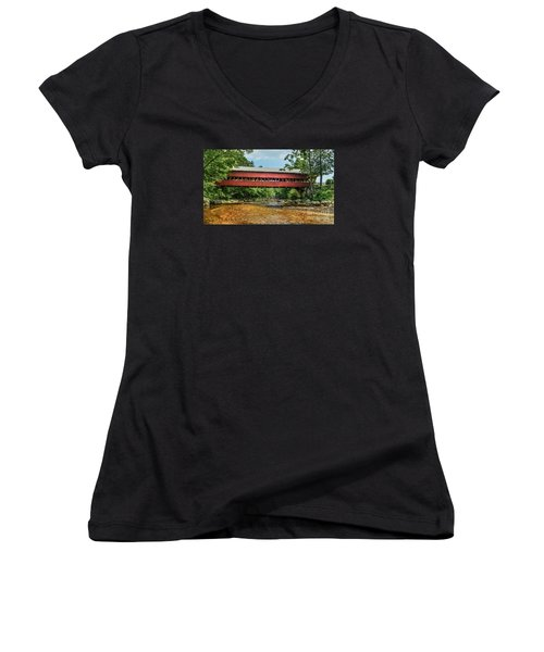 Women's V-Neck T-Shirt (Junior Cut) featuring the photograph Swift River Covered Bridge Hew Hampshire by Debbie Green