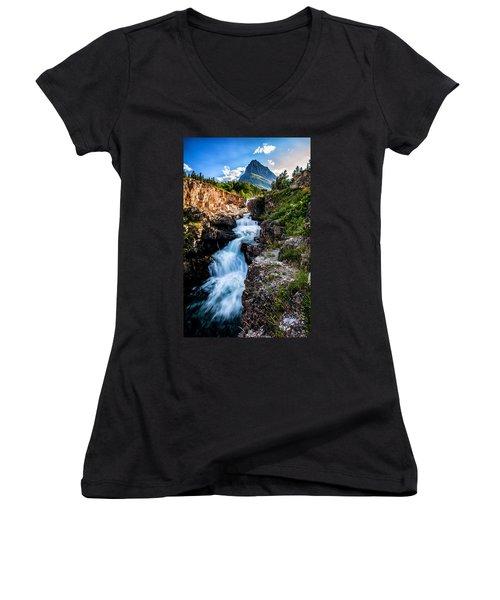 Swiftcurrent Falls Women's V-Neck T-Shirt (Junior Cut) by Aaron Aldrich