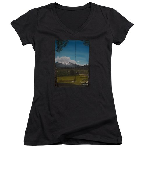 Swing On Mt Hoods Fruit Loop Women's V-Neck T-Shirt (Junior Cut) by Ian Donley