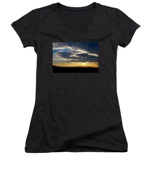 Women's V-Neck T-Shirt (Junior Cut) featuring the photograph Swirl Sky Landscape by Matt Harang