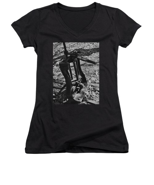 Women's V-Neck T-Shirt (Junior Cut) featuring the photograph Switching Tracks by Sara  Raber