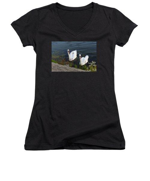 Women's V-Neck T-Shirt (Junior Cut) featuring the photograph Synchronicity by Lingfai Leung
