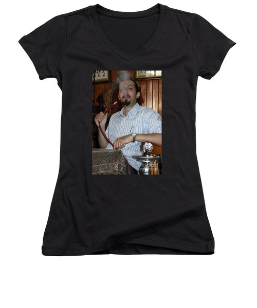 Syrian Man And Waterpipe Women's V-Neck (Athletic Fit)