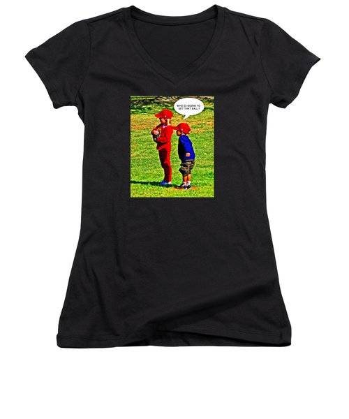 T Ball Fielders Women's V-Neck
