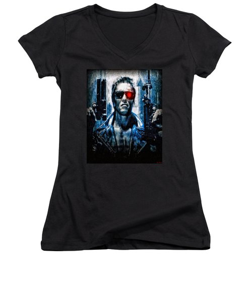 T800 Terminator Women's V-Neck (Athletic Fit)
