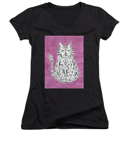 Women's V-Neck T-Shirt (Junior Cut) featuring the painting Tabby Cat by Susie WEBER