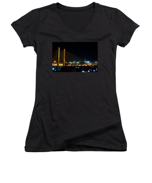 Women's V-Neck T-Shirt (Junior Cut) featuring the photograph Tacoma Dome And Bridge by Tikvah's Hope