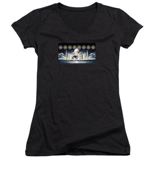 Women's V-Neck T-Shirt (Junior Cut) featuring the digital art Taj by Scott Ross