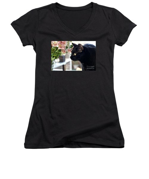 Take Time To Smell The Flowers Women's V-Neck (Athletic Fit)