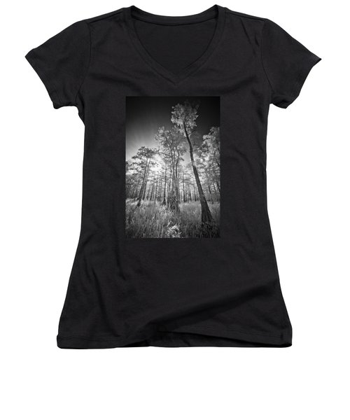 Tall Cypress Trees Women's V-Neck (Athletic Fit)