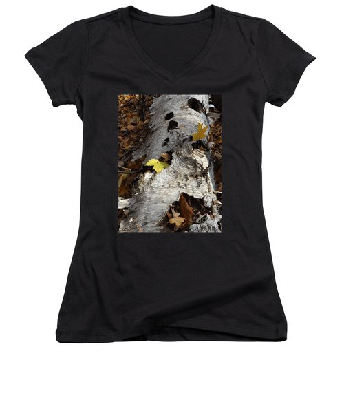 Tall Fallen Birch With Leaves Women's V-Neck (Athletic Fit)