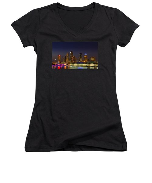 Tampa Lights At Dusk Women's V-Neck T-Shirt