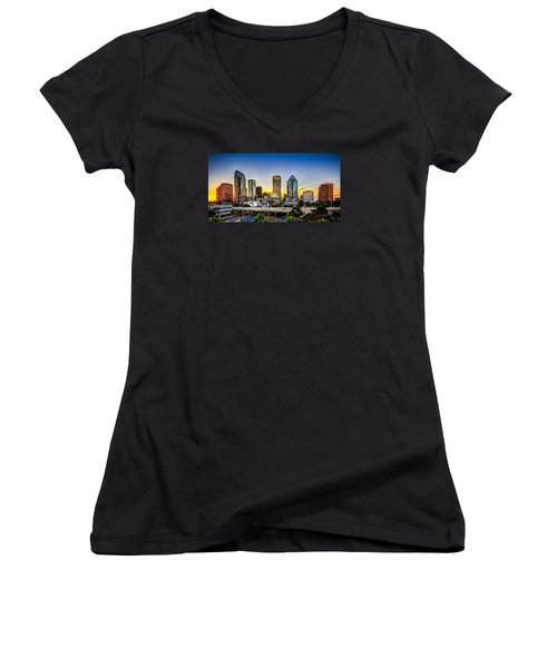 Tampa Skyline Women's V-Neck T-Shirt (Junior Cut) by Marvin Spates