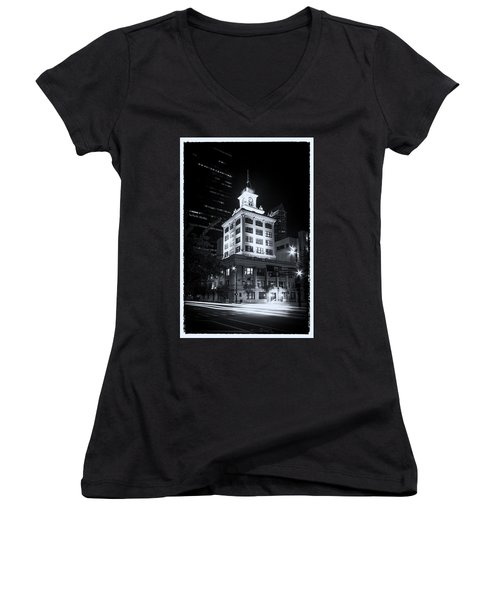 Tampa's Old City Hall Women's V-Neck T-Shirt (Junior Cut) by Marvin Spates