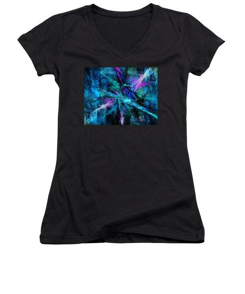 Tangled Web Women's V-Neck T-Shirt (Junior Cut) by Sylvia Thornton