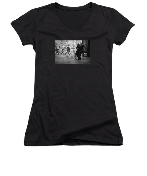 Tango Dancers In Buenos Aires Women's V-Neck T-Shirt (Junior Cut) by Venetia Featherstone-Witty