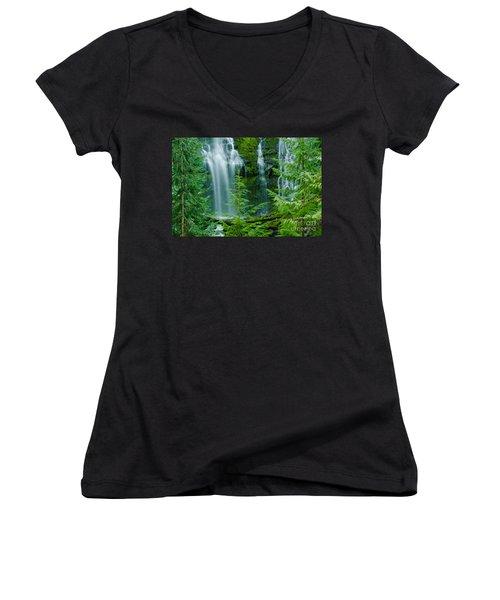 Pacific Northwest Waterfall Women's V-Neck T-Shirt (Junior Cut) by Nick  Boren