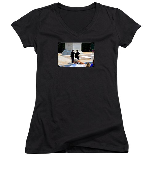 Taps At The Tomb Of The Unknown Women's V-Neck T-Shirt (Junior Cut) by Patti Whitten