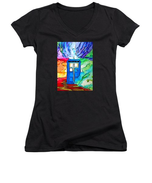 Women's V-Neck T-Shirt (Junior Cut) featuring the drawing Tardis Illustration Edition by Justin Moore