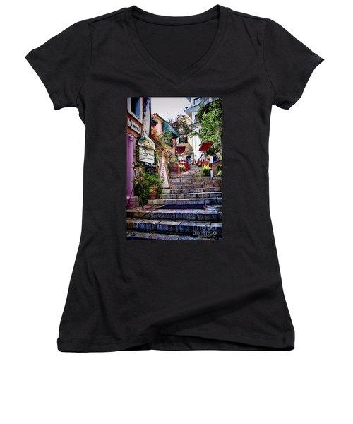 Taormina Steps Sicily Women's V-Neck T-Shirt