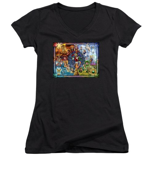 Tarot Of Dreams Women's V-Neck T-Shirt (Junior Cut) by Ciro Marchetti